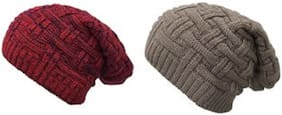 Fashno Woolen Beanie Winter Cap for Men & Women Premium Quality Streachable Fabric (Free Size)(Pack of 2)