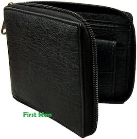 First Man Black Round Zip Men Fashion Wallet