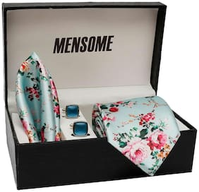 Floral Print Neck Tie, Pocket square and Cufflinks in pack of 3