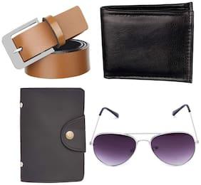 FLUID Wallet;Belt;Aviator Sunglass and Card-Holder Combo For Men