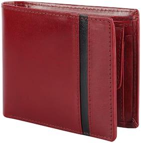 Flyer Men Red Leather Bi-Fold Wallet ( Pack of 1 )