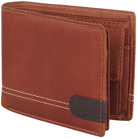 Flyer Men Tan Leather Bi-Fold Wallet ( Pack of 1 )