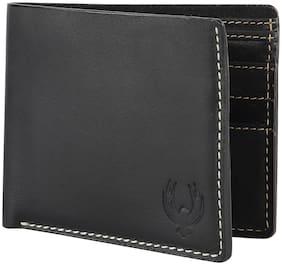 Flyer Men Black Leather Bi-Fold Wallet ( Pack of 1 )