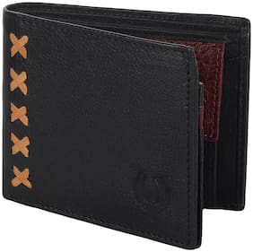 Flyer Men Black Leather Bi-Fold Wallet ( Pack of 1 )