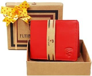 FLYING HAWK  Men Red Genuine Leather Wallet  (6 Card Slots)
