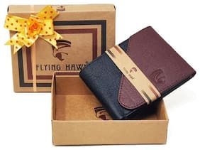 FLYING HAWK  Men Brown  Black Artificial Leather Wallet