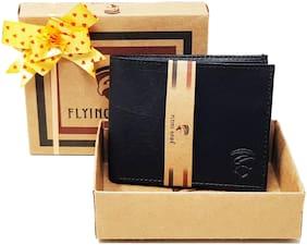 FLYING HAWK  Men Black Genuine Leather Wallet
