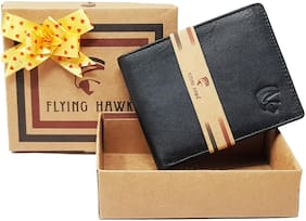 FLYING HAWK Men Casual Black Genuine Leather Wallet