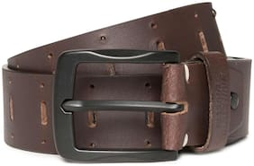 Flying Machine Men Brown Leather Belt (Size: 34 , Pack of 1 )