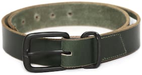 Flying Machine Men Green Leather Belt (Size: 38 , Pack of 1 )