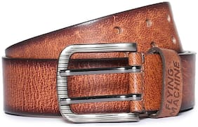 Flying Machine Men Brown Leather Belt (Size: 32 , Pack of 1 )