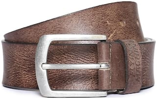 Flying Machine Brown Textured Leather Belt