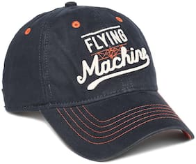 Flying Machine Blue Cotton Embroidered Cotton Cap