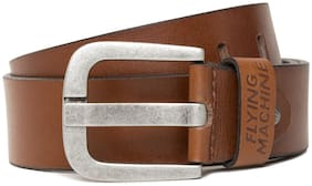 Flying Machine Men Brown & Tan Leather Belt (Size: 32 , Pack of 1 )