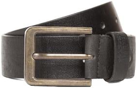 Flying Machine Men Black Leather Belt (Size: 32 , Pack of 1 )