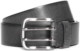 Flying Machine Men Black Leather Belt (Size: 32 , Pack of 1 )
