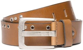 Flying Machine Brown Studded Leather Belt