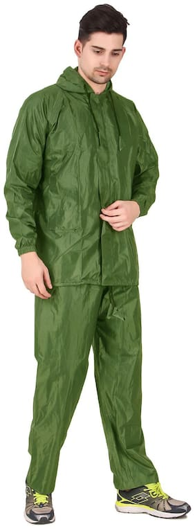 FOBHIYA Unisex Polyester Green Rain Hooded Suit ( Xxxl , Pack of 1 )