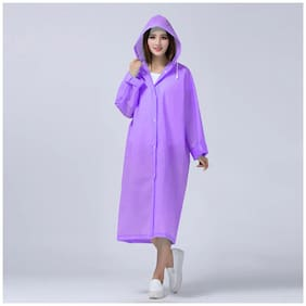 FOBHIYA Unisex Plastic Purple Rain Hooded Long Coat ( Xl , Pack of 1 )