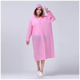 FOBHIYA Unisex Plastic Pink Rain Hooded Long Coat ( Xl , Pack of 1 )