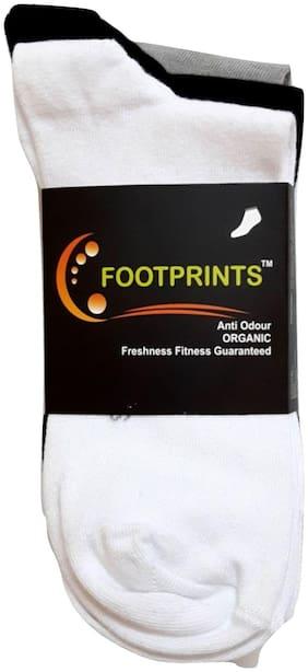 Footprints Organic White Cotton Calf length socks ( Pack of 1 )