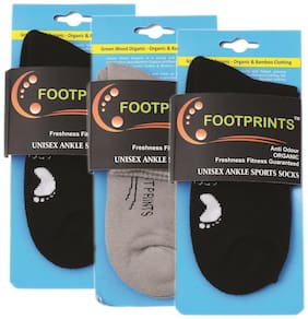 Footprints Organic Cotton & Bamboo Unisex Ankle Sports Cushion Socks - Pack of 3 - 2 Black 1 Grey