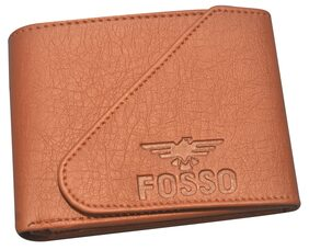 FOSSO Men Pu Bi-fold Wallet - Tan