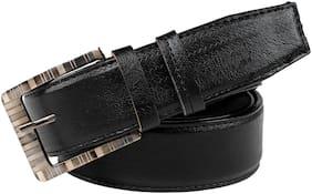 Winsome Deal Men Black Leather Belt (Size: 38 , Pack of 1 )