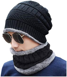 Gabbar Black Color 2 Pieces Winter Woolen Beanie Cap With Neck Warmer For Men And Women | Free Size;Fur Inside