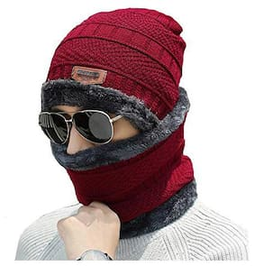 Gabbar Red Color 2 Pieces Winter Woolen Beanie Cap With Neck Warmer For Men And Women | Free Size;Fur Inside
