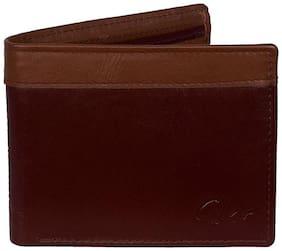 Gentleman Genuine Maroon & Brown Pure Leather Men's Wallet