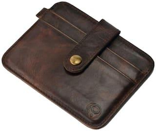 Genuine Leather Card Holder Brown