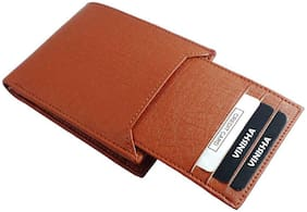 Genuine Leather (pu) Purse For Men, Separable Card Holder, Tan in colour, Bi-Fold, Hand Made, Long Lasting Quality, (M-0013)
