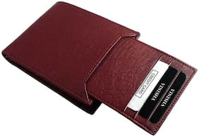 Genuine Leather (pu) Purse For Men, Separable Card Holder, Brown in colour, Bi-Fold, Hand Made, Long Lasting Quality, (M-0014)