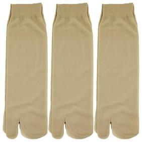 Girls/women beige Cotton Thumb Ankle Length Socks - Pack Of 3