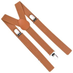 Gking Y- Back Suspenders for Men, Boys (Brown)