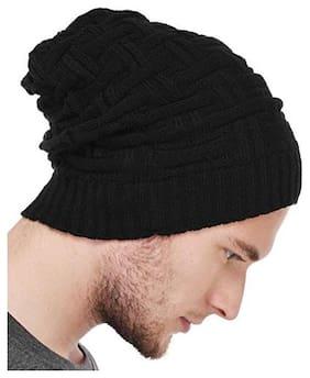Glow Unisex Woolen Beanie Cap (Black, Regular)