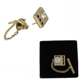 Gold Tone CZ Cubic Zirconia Square Tie Tack Mens Gift Boxed