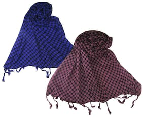 Goodluck Cotton Scarf Set of Two mullticoloured stoles; Scarf and Stoles for Women