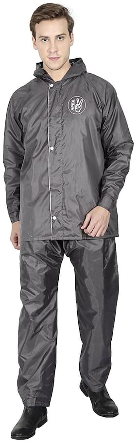 Goodluck Men Polyester Grey Rain Hooded Suit ( Xl , Pack of 1 )