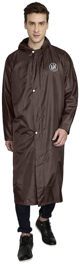 Goodluck Men Polyester Brown Rain Hooded Long Coat ( Xl , Pack of 1 )