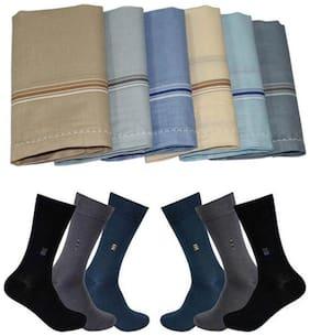 Gordy Multicolor Cotton 6 Pair Socks & 6 Handkerchief For Men's