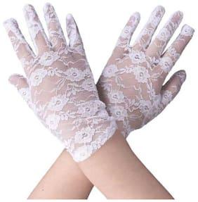 GownLink Women Linen Gloves - White