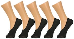 Gumber Pack of 5 Pairs of Black Solid No Show Socks