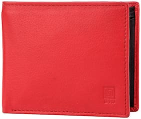 U+N Men Red Leather Bi-Fold Wallet ( Pack of 1 )