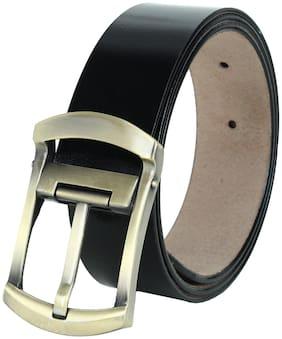 HARLIE KING Men Black Leather Belt (Size: 32 , Pack of 1 )