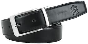 HARLIE KING Men Black Leather Belt (Size: 38 , Pack of 1 )