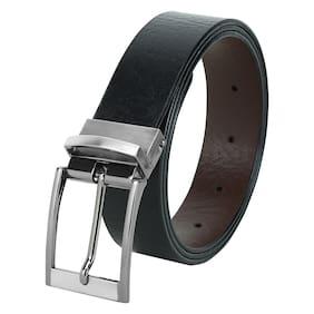 HARLIE KING Men Black Reversible Leather Belt (Size: 46 , Pack of 1 )