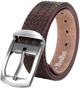 HARLIE KING Men Brown Leather Belt (Size: 36 , Pack of 1 )