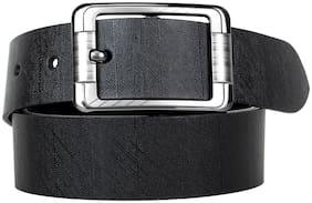 HARLIE KING Men Black Leather Belt (Size: 36 , Pack of 1 )